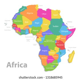 Africa map, new political detailed map, separate individual states, with state names, isolated on white background 3D vector
