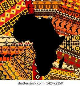 Africa map on ethnic background