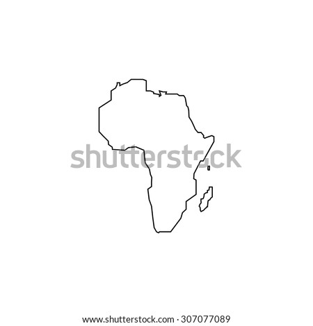 Africa Map Outline Black Simple Vector Stock Vector Royalty Free