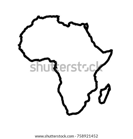 Africa Map Outline Graphic Freehand Drawing Stock Vector Royalty