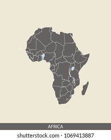 Africa map outline vector illustration in gray background. Borders of all countries are included on this map.