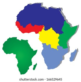Africa map with regions