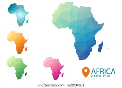 Africa Map - Set of geometric rumpled triangular low poly style gradient graphic background , polygonal design for your . Vector illustration eps 10.