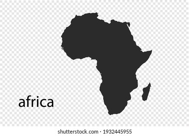 africa map vector, black color. isolated on transparent background