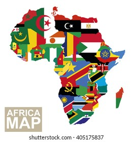 Africa map. Vector map of Africa with flags. African countries flag. Vector Illustration.