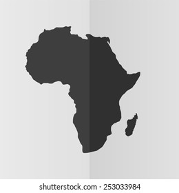 Africa map vector icon. Effect of folded paper. Flat design