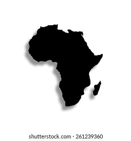 Africa map vector icon with shadow