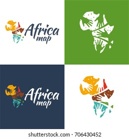 Africa Map - Vector Illustration. A logo and icon of a map of Africa with hands on it.