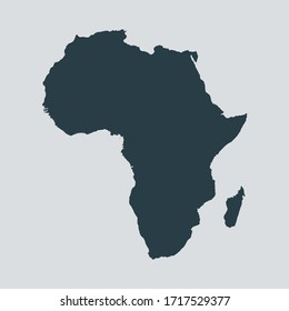 africa map vector, isolated on gray background