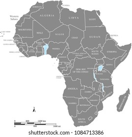Africa map vector outline illustration with miles and kilometers scales and countries names labeled in gray background