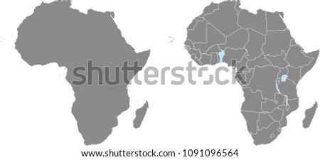 Africa Map Vector Outline Illustration Countries Stock Vector