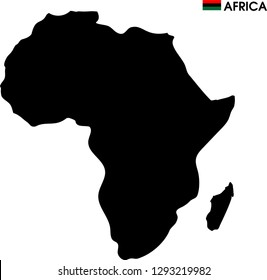 africa map in white background  and red,block,green  africa flag and text on AFRICA