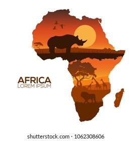 Africa Map.Silhouettes of wild rhino sunset safari animals vector.