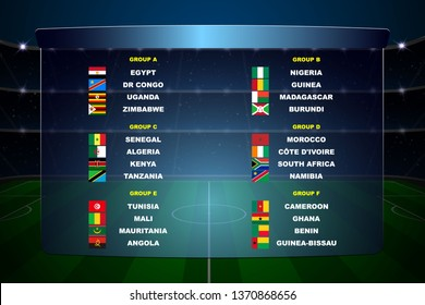 Africa nations soccer cup groups. All flags