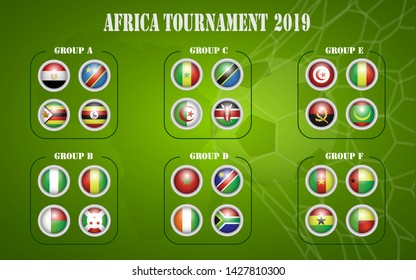 Africa nations soccer cup groups. All flags .Vector illustration  - Images vectorielles