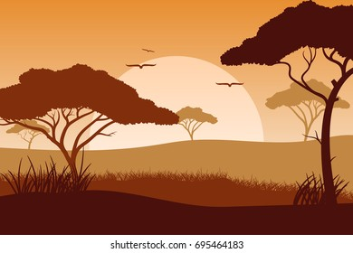 Africa nature. Vector.
