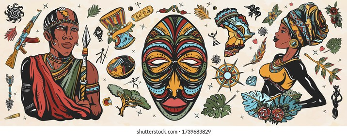 Africa. Old school tattoo vector collection. African woman in traditional turban, maasai warrior,  tribal mask, kalimba, map, drum. Tradition, people and culture. Ethnic afro girl and black tribe man