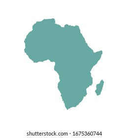 Africa outline world map, vector illustration isolated on white. Map of Africa continent.