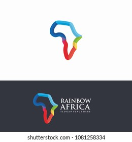 Africa Rainbow Map line logo