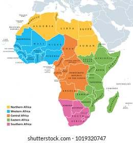 Africa regions political map with single countries. United Nations geoscheme. Northern, Western, Central, Eastern and Southern Africa in different colors. English labeling. Illustration. Vector.