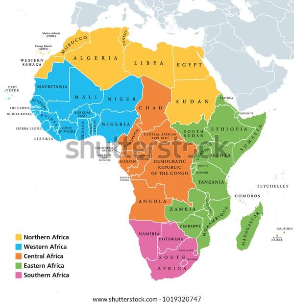 Africa Centrale Cartina Politica.Immagine Vettoriale Stock 1019320747 A Tema Africa Mappa Politica Delle Regioni Con Royalty Free