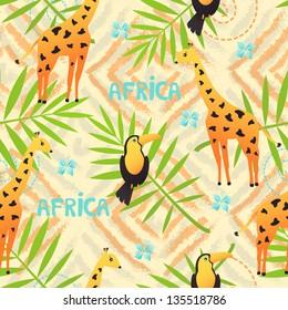 Africa seamless pattern with cute bird and giraffe