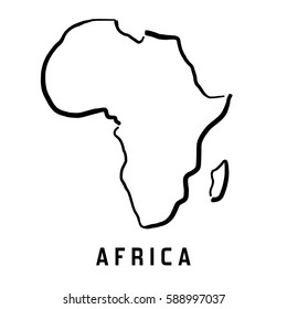 Africa simple map outline - smooth simplified continent shape map vector.