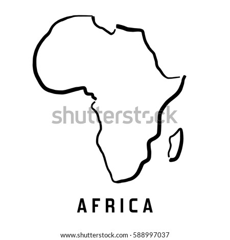 Africa Simple Map Outline Smooth Simplified Stock Vector (Royalty
