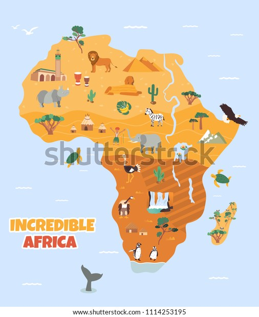 Africa Tourist Map Famous Animals Landmarks Stock Vector (Royalty