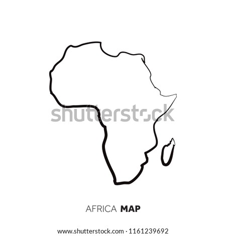 Africa Vector Country Map Outline Black Stock Vector Royalty Free