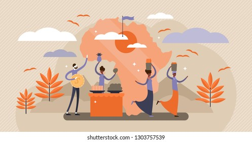 Africa vector illustration. Flat tiny persons concept with classical continent landscape. Ethnic culture traditions with tourists. Vacation, holidays and adventure destination. Fruit baskets on head.