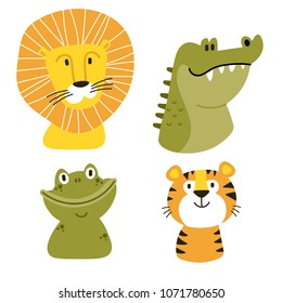 Africa vector set. Safari collection with alligator, frog, lion, toucan, rhino. Perfect for wallpaper,print,packaging,invitations,Baby shower,patterns,travel,logos etc