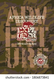 Africa wildlife discovery offload adventure vector print for boy t shirt with camouflage background