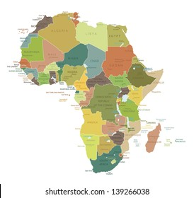 Africa-highly detailed map.All elements are separated in editable layers clearly labeled. Vector