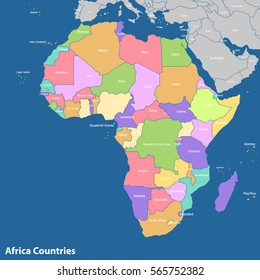 Africa-highly detailed map.editable layers. Vector Maps