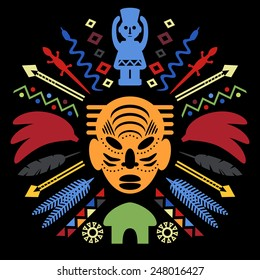 African Abstract Art Tribal Concept Illustration with mask, animals and decorative elements. Vector design