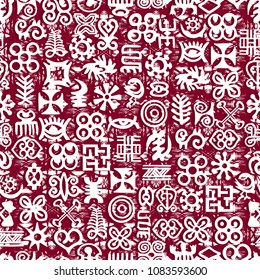 African Adinkra Pattern - red and white digital art ritual symbols and screen printing nations and tribes Akans of Ghana and Cote DIvoire.