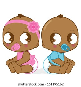 African American babies, a girl and a boy. Vector illustration