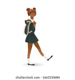 African american, black skinned schoolgirl with backpack going to school flat cartoon vector illustration isolated on white background. Cute little pupil girl, teenager.