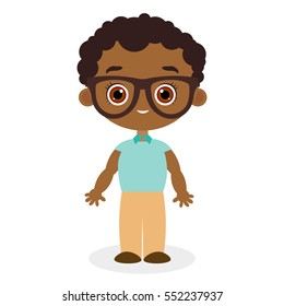 African American boy with glasses.Vector illustration eps 10 isolated on white background. Flat cartoon style