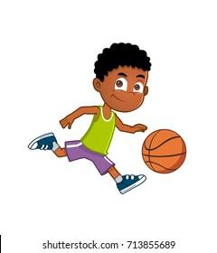 African american boy playing basketball