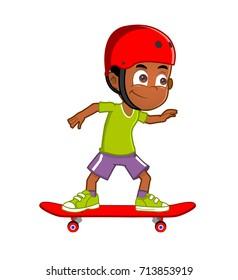 African american boy skateboarding