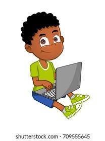 african american boy using laptop