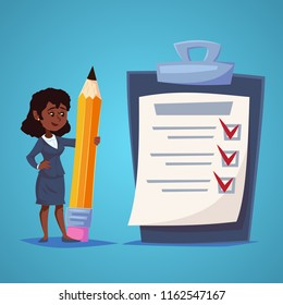 African American Business Woman with Giant check list of things to be checked, items required, things to be done, office schedule reminder. Vector business concept flat style cartoon illustration.