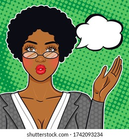 African american business woman showing on speech bubble for advice, offer, announcement, etc. Black succesful business woman in suit and glasses vector illustration in pop art retro comic style