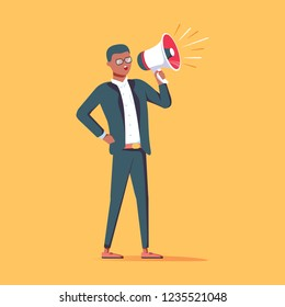 An african american businessman in formal suit holding megaphone and shouting in it. Cartoon character manager with bullhorn. Business concept. Vector flat design illustration. Advertising concept.