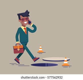 African american businessman going on the street and talking by cell phone. He doesn't notice open manhole and could fall. Business risks and insurance concept. Vector illustration.