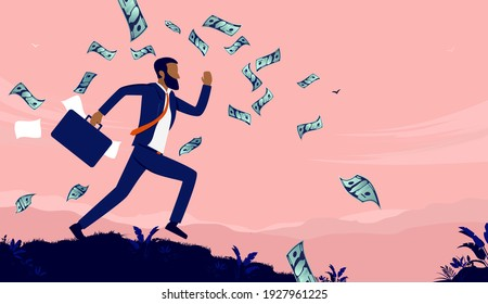 African American businessman running with briefcase and money flying in air. Efficient and ambitious man concept. Vector illustration.