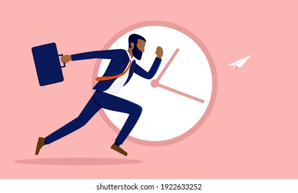 African American businessman running in front of clock - Business deadline and efficient concept. Vector illustration.
