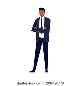 African American businessman standing with hands crossed, confident man in office clothes with tie, vector illustration in flat style on white background